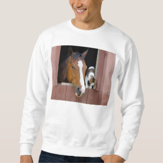 Chat et cheval - ranch de cheval - amants de sweatshirt