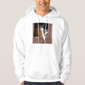 Chat et cheval - ranch de cheval - amants de veste à capuche