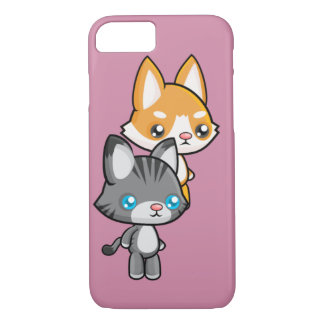 Chat et chien debout de Kawaii Coque iPhone 7