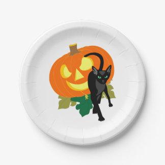 Chat et citrouille de Halloween Assiettes En Papier