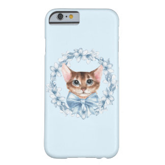 Chat et fleurs bleues coque iPhone 6 barely there