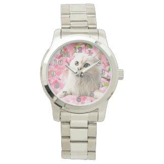 Chat et fleurs montres bracelet