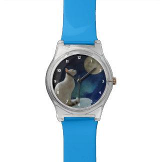 Chat et lune montres cadran