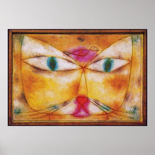 Chat et oiseau - copie d'affiche d'art abstrait