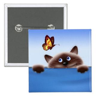 Chat et papillon badge carré 5 cm