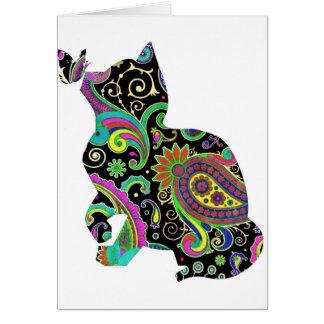Chat et papillon de Paisley Carte De Vœux
