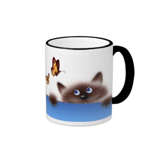 Chat et papillon mugs à café