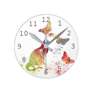 Chat et papillons horloge ronde