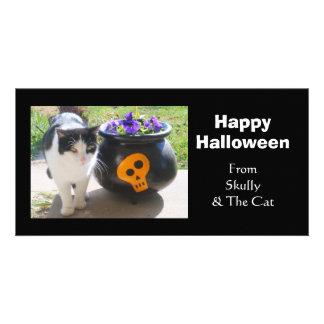 Chat et pensées Halloween Photocartes Personnalisées