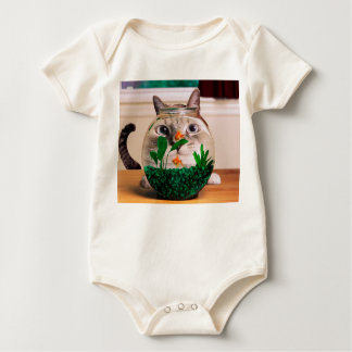 Chat et poissons - chat - chats drôles - chat fou body