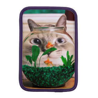 Chat et poissons - chat - chats drôles - chat fou housse pour iPad mini
