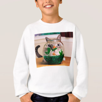 Chat et poissons - chat - chats drôles - chat fou sweatshirt