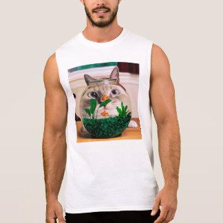 Chat et poissons - chat - chats drôles - chat fou t-shirt sans manches