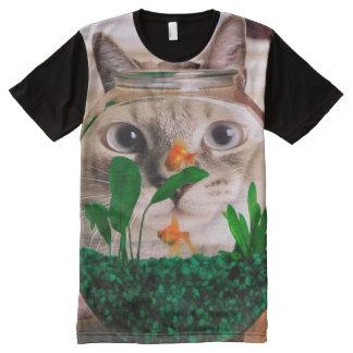 Chat et poissons - chat - chats drôles - chat fou t-shirt tout imprimé