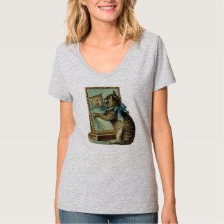 Chat et psyché, T-shirt vintage de chat