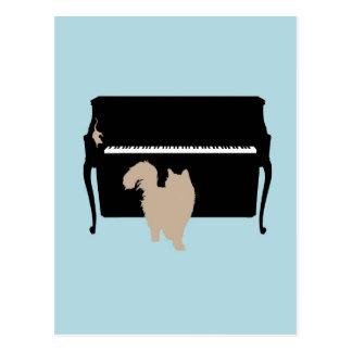 Chat et souris sur le piano cartes postales