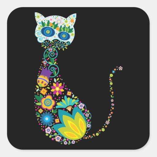 Chat floral coloré stickers carrés