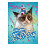 Chat grincheux de joyeux anniversaire cartes de vœux