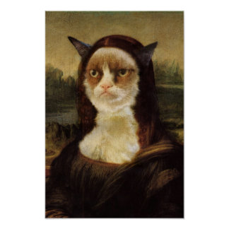 Chat grincheux Mona Lisa Posters