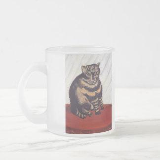 Chat grincheux vintage mug en verre givré