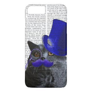 Chat gris avec le casquette supérieur bleu et la coque iPhone 7 plus
