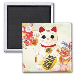 Chat japonais de fortune de Maneki Neko Magnet Carré