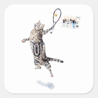 Chat jouant au tennis sticker carré