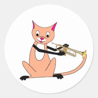 Chat jouant la trompette adhésif rond