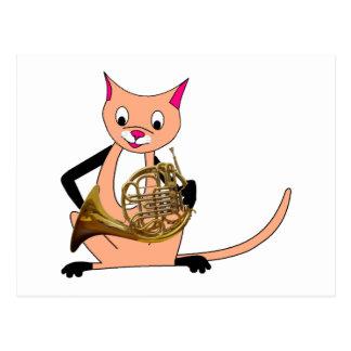 Chat jouant le cor de harmonie carte postale