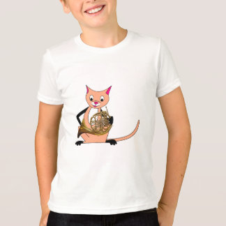 Chat jouant le cor de harmonie t-shirt