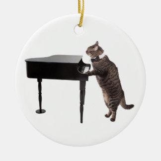 Chat jouant le piano ornement rond en céramique