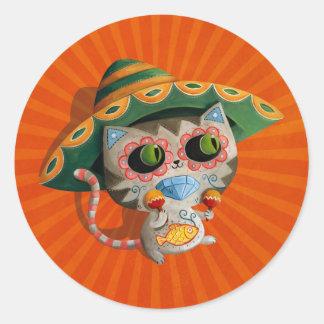 Chat mexicain avec le sombrero autocollant