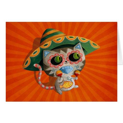 Chat mexicain avec le sombrero cartes de vœux