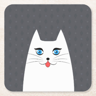 Chat mignon avec la langue collant dessous-de-verre carré en papier