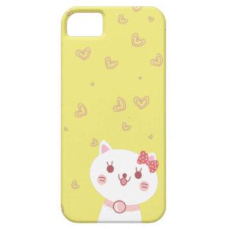 chat mignon avec l'arrière - plan de jaune de moti coque iPhone 5