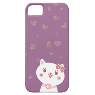 chat mignon avec l'arrière - plan de pourpre de mo étui iPhone 5