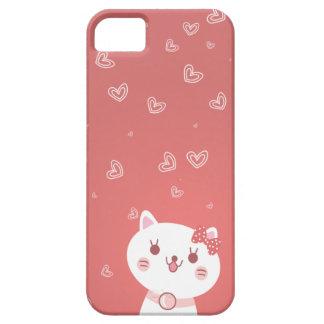 chat mignon avec l'arrière - plan de rose de motif coques iPhone 5