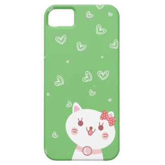 chat mignon avec l'arrière - plan de vert de motif étuis iPhone 5