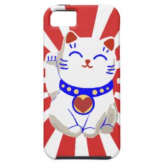 Chat mignon chanceux de neko sur le Soleil Levant Coque iPhone 5