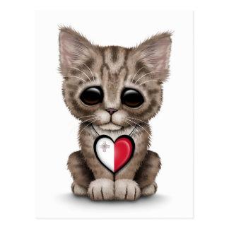 Chat mignon de chaton avec le coeur maltais de cartes postales