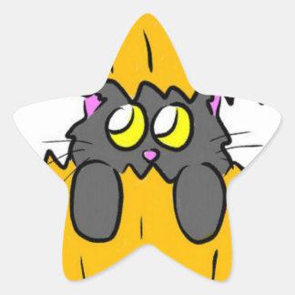 chat mignon de citrouille de Halloween Stickers En Étoile