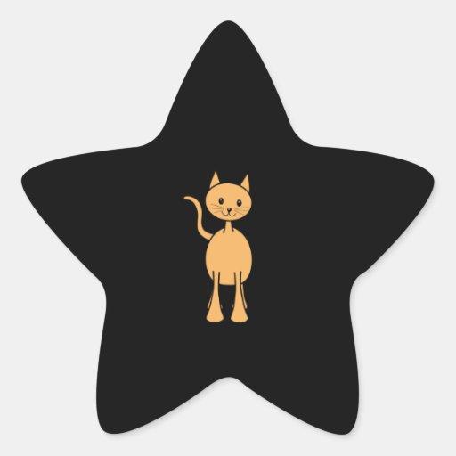 Chat mignon de gingembre. Bande dessinée orange de Autocollant En Étoile
