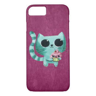 Chat mignon de Kitty avec le petit gâteau de Coque iPhone 7
