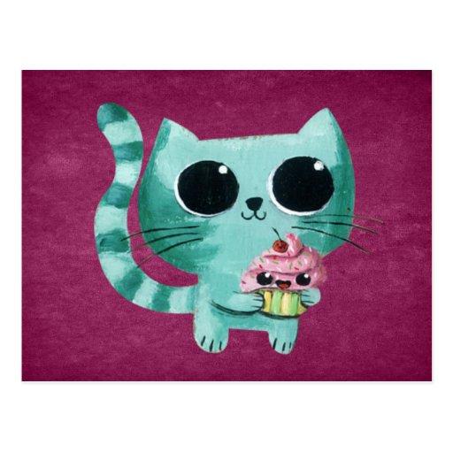 Chat mignon de Kitty avec le petit gâteau de Kawai Cartes Postales