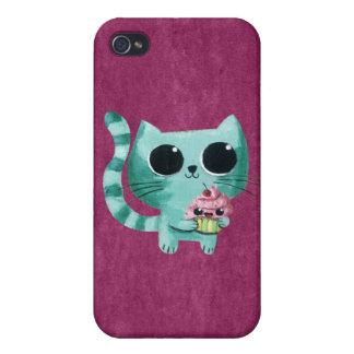 Chat mignon de Kitty avec le petit gâteau de Kawai Coque iPhone 4 Et 4S