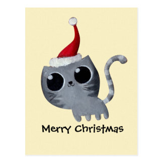 Chat mignon de Noël de Kawaii Carte Postale