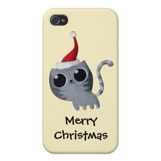 Chat mignon de Noël de Kawaii Coque iPhone 4