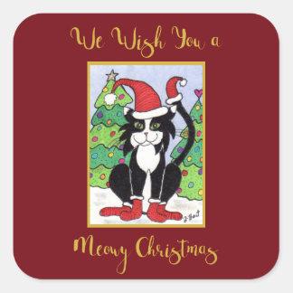 Chat mignon de smoking de Noël de Meowy dans des Sticker Carré