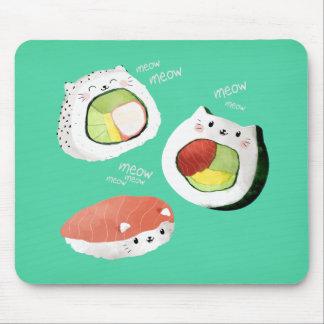 Chat mignon de sushi tapis de souris