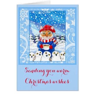 Chat mignon et carte neigeuse d'hiver de Noël de